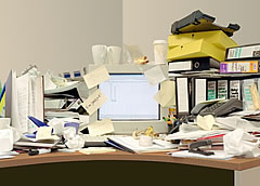Messy desk - before